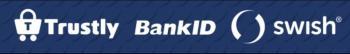Logos för Trustly, bankID och Swish.